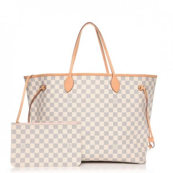 Neverfull Gm Damier Azur Forro Rosa Louis Vuitton Premium Top Couro Legítimo C Código Série Acompanha Pochete E Dust Bag