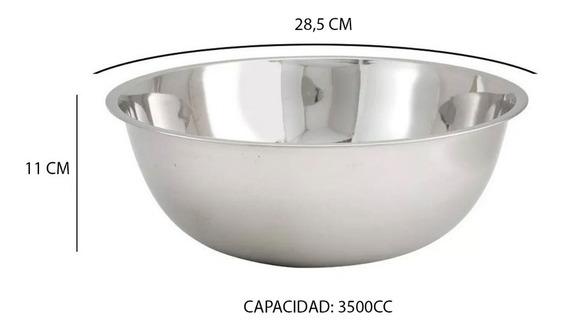 Bowl Ensaladeras De Acero Inoxidable Reposteria Batir Grande