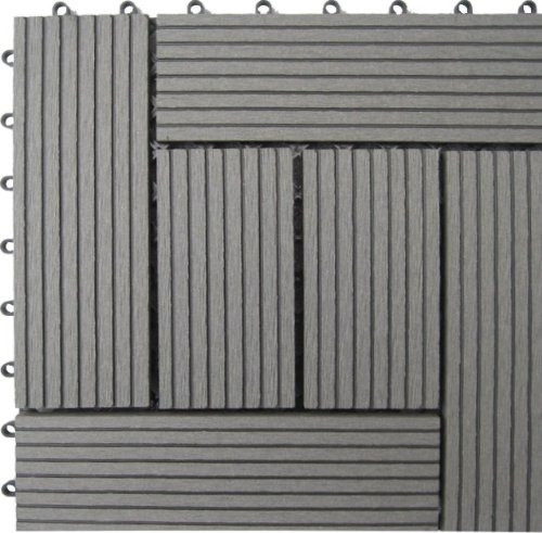 Naturesort N4-otm6g 6-slat Bamboo Composite Deck Tiles, Gre
