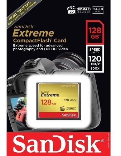 Cartão De Memoria Sandisk Extreme Compactflsh 128 Gb 120 Mbs