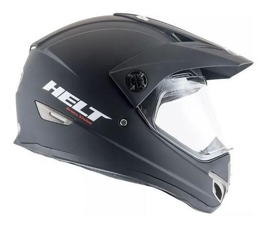 Capacete Motociclista Original Helt Cross Vision Preto Fosco