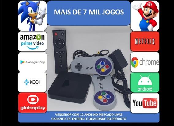 Retro Game 7mil Jogos 16gb Tv Box 2 Controles Com Fio Snes