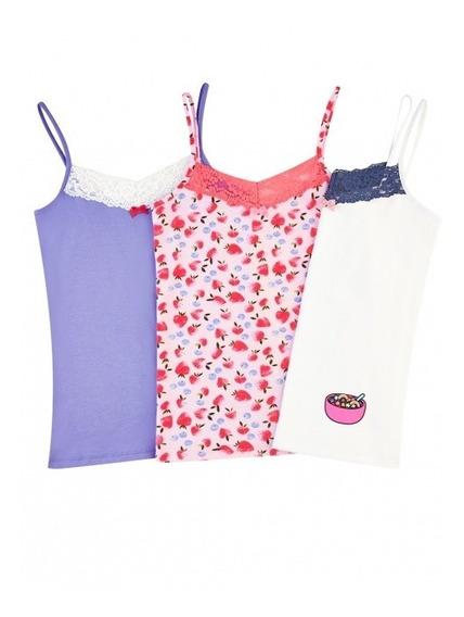Paquete De 3 Camisetas Basicas P/niña Ilusion 33310 C/encaje