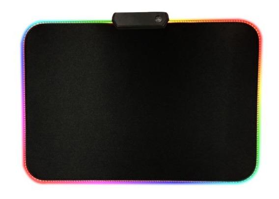 Mouse Pad Gamer Rgb Led 7 Cores Base Emborrachada Usb T66