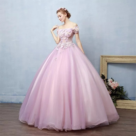 Vestido Xv Años Rosa Flores Envió Gratis Barato