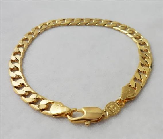 Pulseira Dourada Cheia Banhada A Ouro 20 Cms X 6 Mm