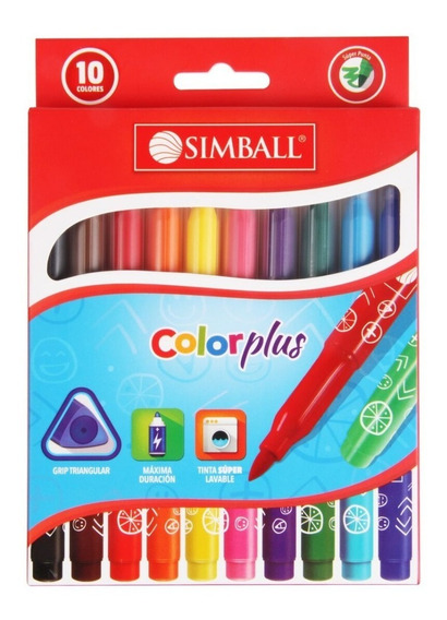 Marcador Marcadores Escolar Simball Color Plus Largo X 10 Un