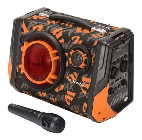 Caixa de som Briwax FBX-105 portátil sem fio Preto/Laranja 110V/220V