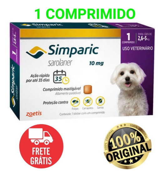 Anti-pulga Simparic 10mg P/ Cães 2,6 A 5kg - 1 Comprimidos