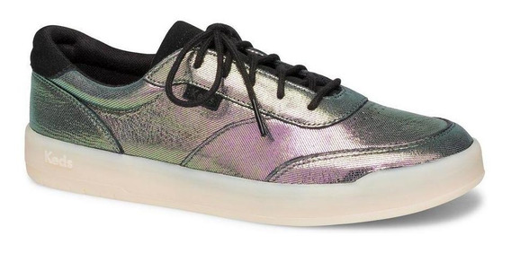 Zapatilla Match Point Cuero Urbana Morado Metalico Keds