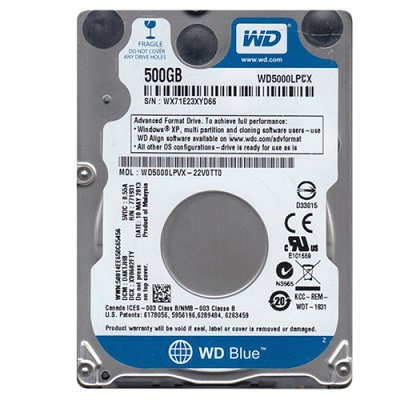Hd Interno Wd P/ Notebook 500gb 5.4rpm Blue Wd5000lpcx