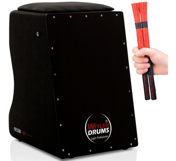 Cajón Eletroacústico Witler Drums | 02 Vassourinhas | Brind