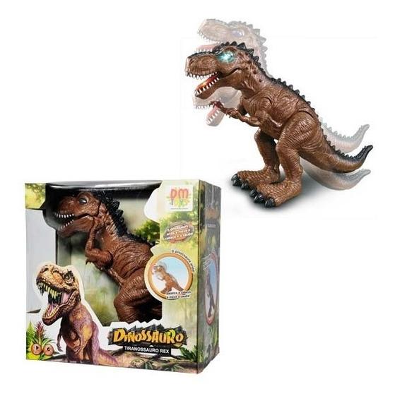Dinossauro De Brinquedo Com Luz, Som E Movimentos A Pilha