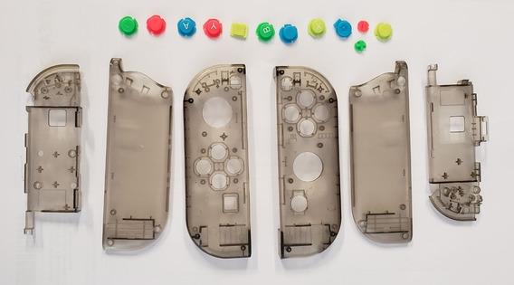 Carcaça Preto Fumê + Botões Para Controle Nintendo Switch