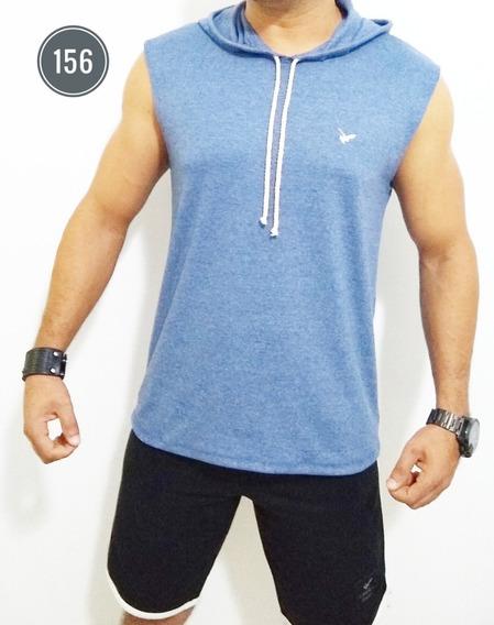 Camiseta Regata Masculina Capuz Machão Fitness Fashion Top