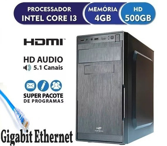 Pc Computador Cpu Core I3, 4gb, 500gb,* Novo* -limpa Estoque