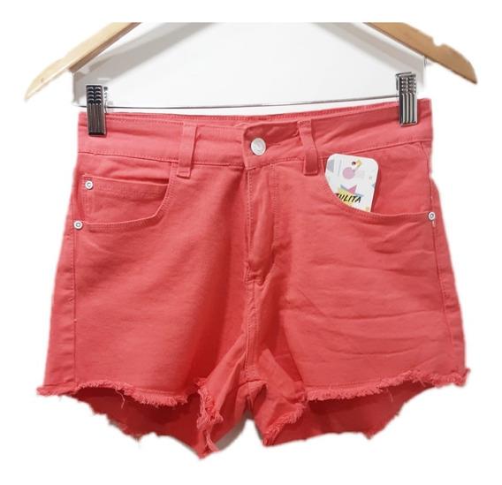 Short Jeans Mujer Elastizados Colores Celeste Verde Coral