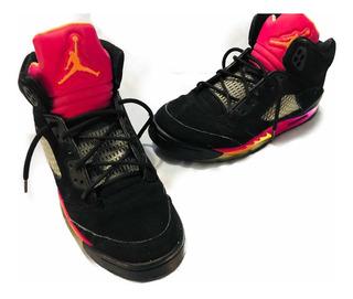 Air Jordan Retro 5 Original Negro/rosa Talla 25 Cms