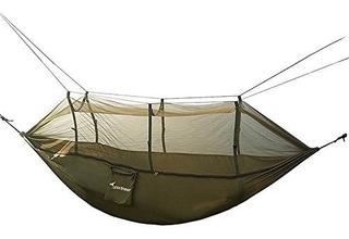 Sportneer Camping Hammock W / Mosquito Net, Paracaídas Tejid
