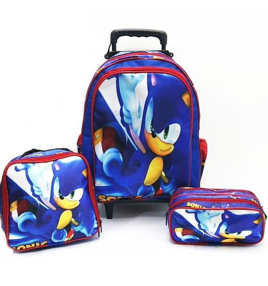 Kit Mochila Rodinha Grande Escolar Infantil 2020 Sonic Prom
