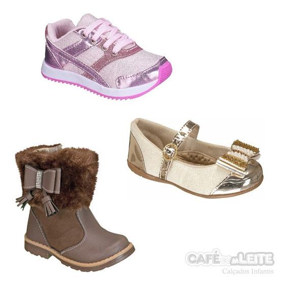 Bota+tênis +sapatilha Infantil Menina(3 Pares)