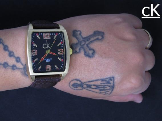 Relógio Ck Quadrado Gold Couro Analógico Masculino Original