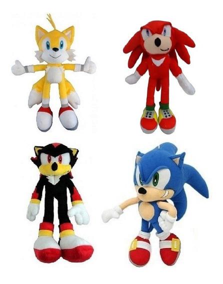 4 Bonecos Pelúcia Turma Do Sonic Knucles Tails Shadow 35 Cm