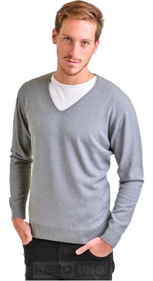 Sweater Hombre Pullover Saco Escote V Vestir Gris Kierouno