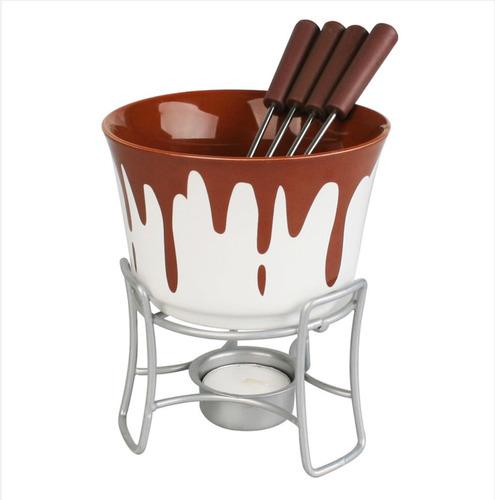 Panela Fondue Cerâmica Chocolate Queijo Bruxelas 6 Peças