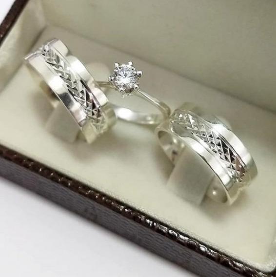 Conjunto Par De Aliança 8mm Diamantada +anel Solitário Prata