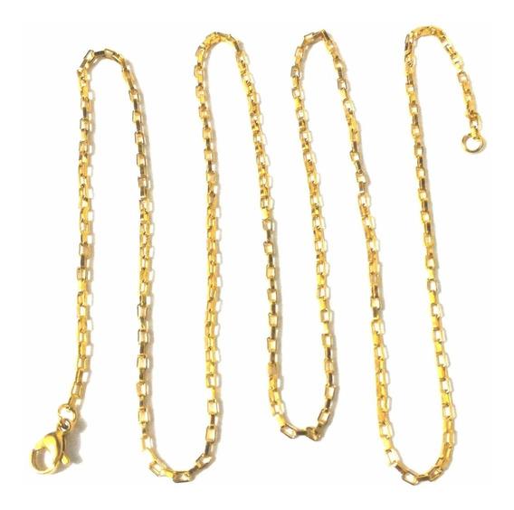 Corrente Cordão Elo Quadrado 60cm Aço Inox Banhado Dourado