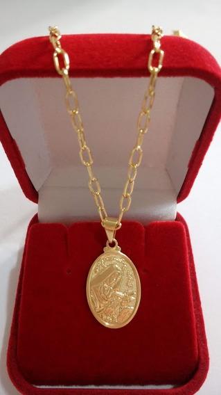 Corrente Masculina Com Pingente De Santa Rita Banhada A Ouro