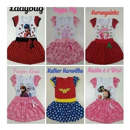 Kit 2 Und Vestido Temático Ladybug Infantil Miraculous Minie