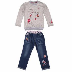 Conjunto Infantil Calça Jeans Blusa Manga Longa Importado
