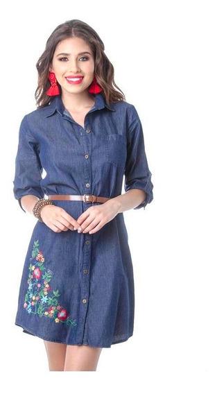 Vestido Dama Azul Mezclilla Devendi Con Bordado Y Cinturon