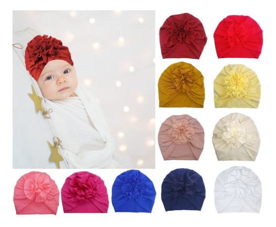 3 Gorritos Para Bebé Turbantes De Flor, Baby Headwrap!