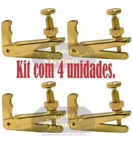 Kit 4 Fixo Microafinador Dourado Violino Dominante