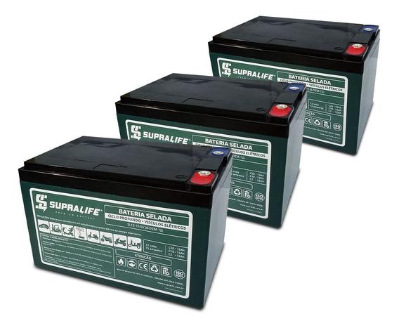 Kit 3 Baterias Patinete Two Dogs Sl12-15 Ciclo Profundo