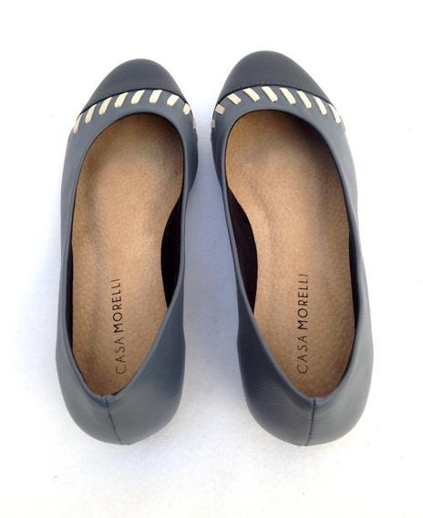 Sapato Feminino Saltinho Couro Legítimo Marinho 6016