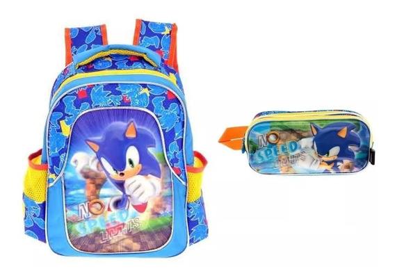Kit De Mochila Y Lapicera Sonic Kinder Tz939