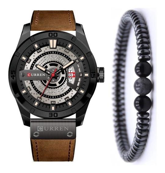 Relógio Masculino Curren Pulseira Couro + Bracelete Bolinhas