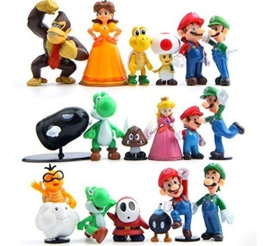 Figuras De Super Mario Bros Nintendo 6 En 1 Pvc 7cms A1904