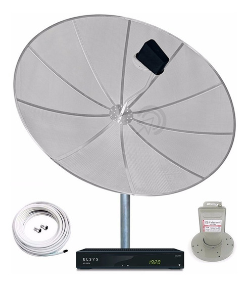 Antena Parabólica 170cm Completa Receptor Elsys Anadigi