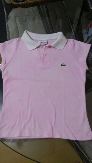 Camisa Camiseta Inf Menina Polo Lacoste Original Rosa Tam. 4