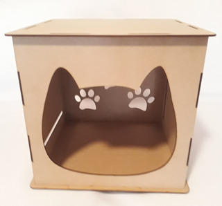 Rascador Y Cama Para Gato Corte Laser Cubo Armable Diy