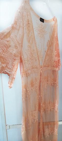 Kimono Mujer Guipur Tul Bordado Coral Saquito Spolverino