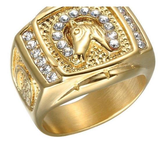 Anel Aço Masculino Banhado A Ouro Cavalo Dedeira Cravejado