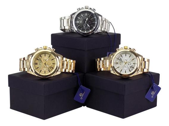 Kit Com 3 Relógios Orizom Original Dourado Prata Preto
