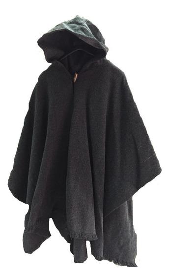 Poncho Negro Con Gorro Lana Con Alpaca / Bauldeaperos