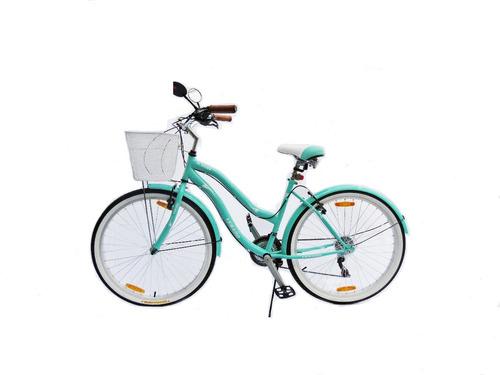 Imagen 1 de 5 de Bicicleta Dama Verado Playera Canasto Luz Cambios Shimano
